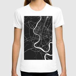 Bangkok Thailand Minimal Street Map - Midnight Black and White T-shirt