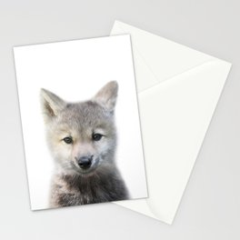 Baby Wolf, Baby Animals Art Print By Synplus Stationery Cards