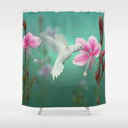 White Hummingbird And Pink Guara Shower Curtain