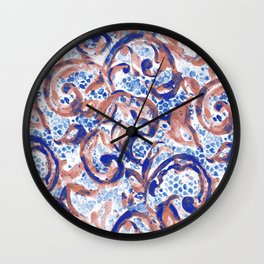 Vintage Lace Watercolor Blue Rust Wall Clock