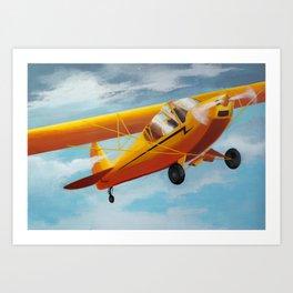 Yellow Plane, Blue Sky Art Print