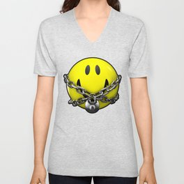 Quit Your Grinning / 3D chained up smiley Unisex V-Neck