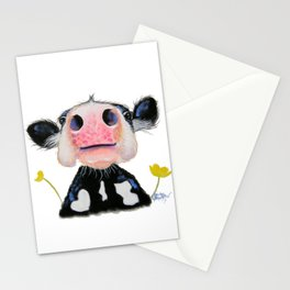 Nosey Friesian Cow ' DAFFODIL by Shirley MacArthur Stationery Cards