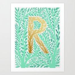 Botanical Metallic Monogram - Letter R Art Print