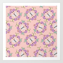 Butterfly Patterns in Pink and Blue and White. Art Print