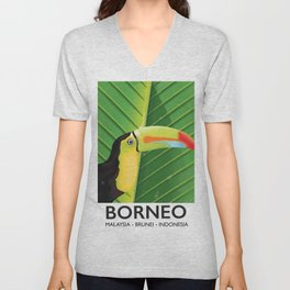 Borneo Toucan travel poster Unisex V-Neck