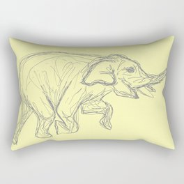 Elephant Swimming Gestural Drawing Rectangular Pillow
