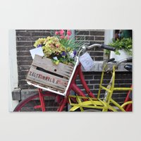 bikes Canvas Prints featuring Bikes by constarlation