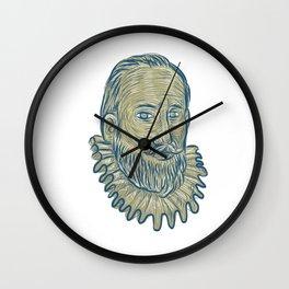 Sir Walter Raleigh Bust Drawing Wall Clock
