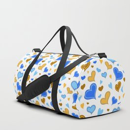 Hearts Illustrated pattern Duffle Bag