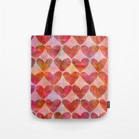 hearts Tote Bags featuring Hearts by LebensARTdesign