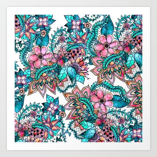 Boho turquoise pink floral watercolor illustration Art Print