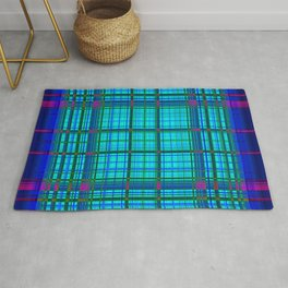 Blue and pink neon plaid Rug