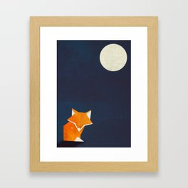 Origami Fox and Moon Framed Art Print