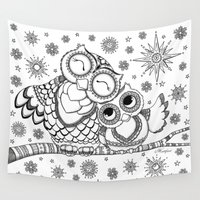 cuddle Wall Tapestries featuring Mama & Baby Owl Cuddle by Hattifant