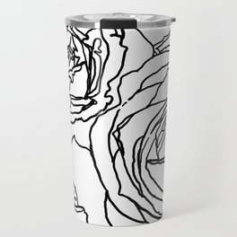 Feminine and Romantic Rose Pattern Line Work Illustration Travel Mug