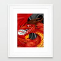 smaug Framed Art Prints featuring Smaug by Chandlee Freudenberger
