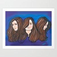 jenna kutcher Art Prints featuring Jenna Louise Coleman by Monica Lara Art