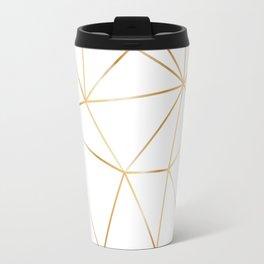 gold polygon on white Travel Mug