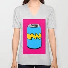 Pink Yellow & Blue Cartoon Soda Can Colourful Simple Art Unisex V-Neck