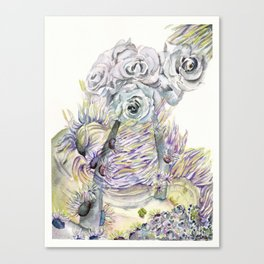 Roses and Sea Anemones Canvas Print