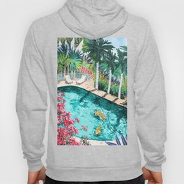 Luxury Tiger Villa illustration, Architecture Travel Nature Painting, Hotel Landscape Garden Hoody
