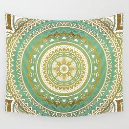 Teal and Gold Mandala Wall Tapestry