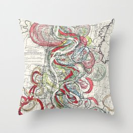 Beautiful Vintage Map of the Mississippi River Throw Pillow
