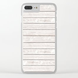Rustic ivory white vintage wood Clear iPhone Case