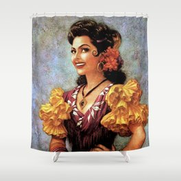Mexican Golden Flamenco Calendar Girl by Jesus Helguera Shower Curtain