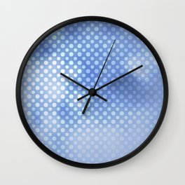 White polka dots on serentiy blue with bokeh texture Wall Clock