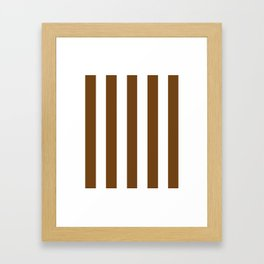 Sepia brown - solid color - white vertical lines pattern Framed Art Print