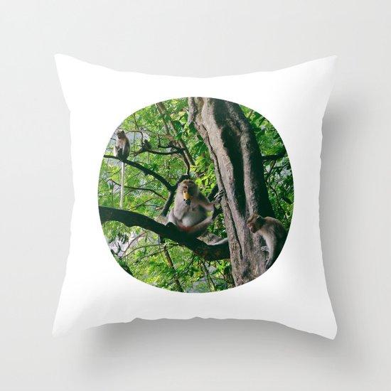 Mountain Monkeys Throw Pillow