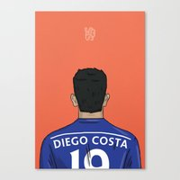 chelsea fc Canvas Prints featuring Diego Costa Football Back Chelsea FC by Mark McKenny