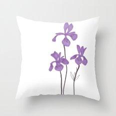 Iris Purple Flower Throw Pillow