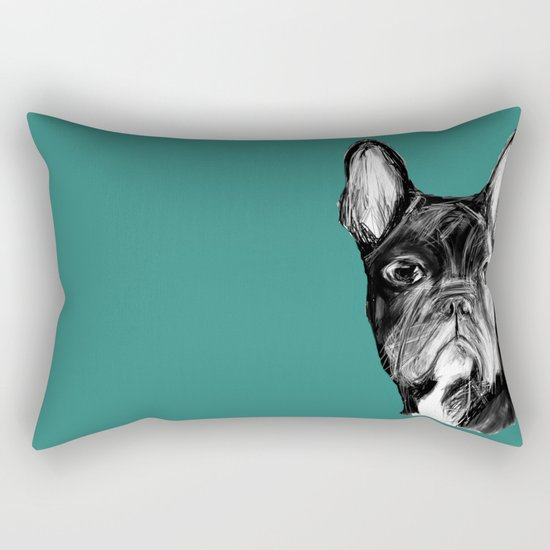 French Bulldog. Teal  Rectangular Pillow