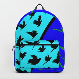 Flying Bird. Crows fly over planet Earth Backpack