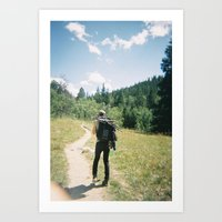 hiking Art Prints featuring Hiking by iamthans