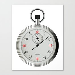 Silver Stop Watch Canvas Print