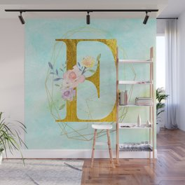 Gold Foil Alphabet Letter E Initials Monogram Frame with a Gold Geometric Wreath Wall Mural