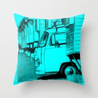volkswagen Throw Pillows featuring Volkswagen Van by Rainer Steinke