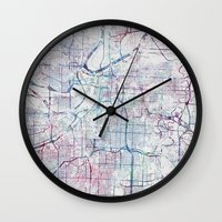kansas city Wall Clocks featuring Kansas city map by MapMapMaps.Watercolors