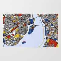 montreal Area & Throw Rugs featuring montreal map mondrian by Mondrian Maps