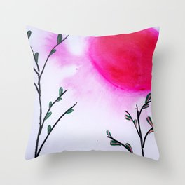 Pink Moon Throw Pillow