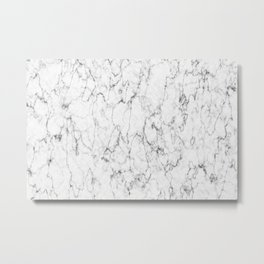 Marble White and Gray Texture Abstract Art Metal Print