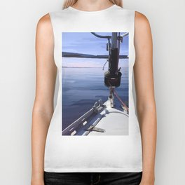 """Seeking the Horizon"" - Sailboat Painting Biker Tank"