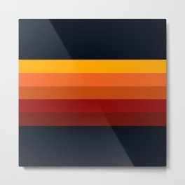 Navy & Orange Rainbow Stripes Metal Print