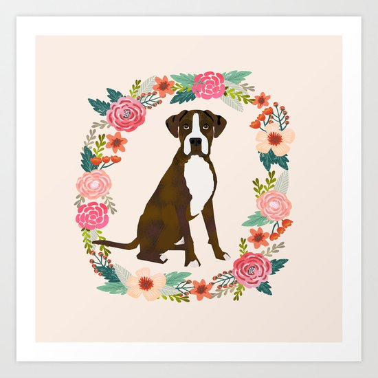 Boxer brindle floral wreath flowers dog breed gifts by boxerbrigade