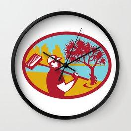 Cleaner Pandanus Tree Coast Oval Retro Wall Clock