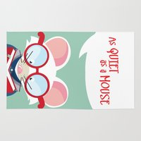 lawyer Area & Throw Rugs featuring As Quiet as a Mouse (Bookworm / Student) by Kitchen Bath Prints